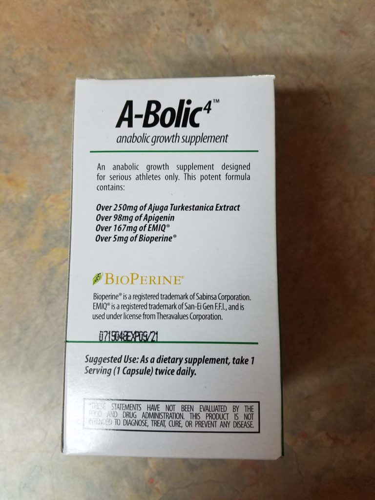 image shows dosage label for a bolic 4 supplement