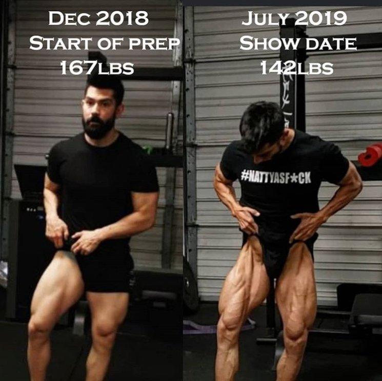 Before and after image showing results of wearing a weighted vest
